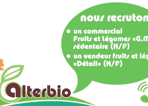 Nous recrutons un Commercial Fruits et Légumes «G.M.S.» sédentaire (H/F) et un Vendeur Fruits et Légumes «Détail» (H/F)