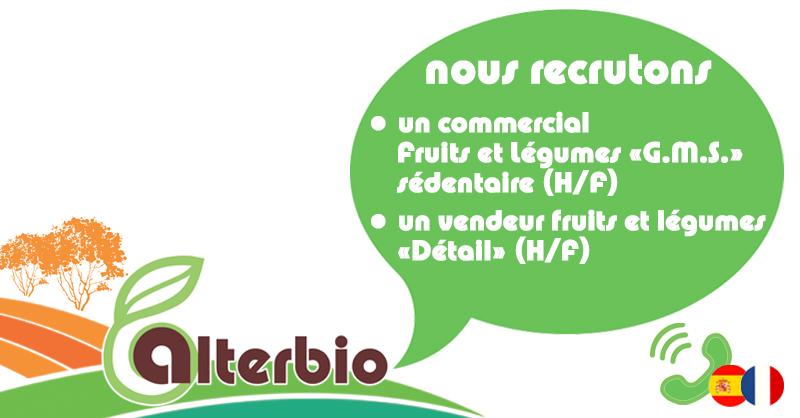 Nous recrutons un Commercial Fruits et Légumes G.M.S. sédentaire (H/F)